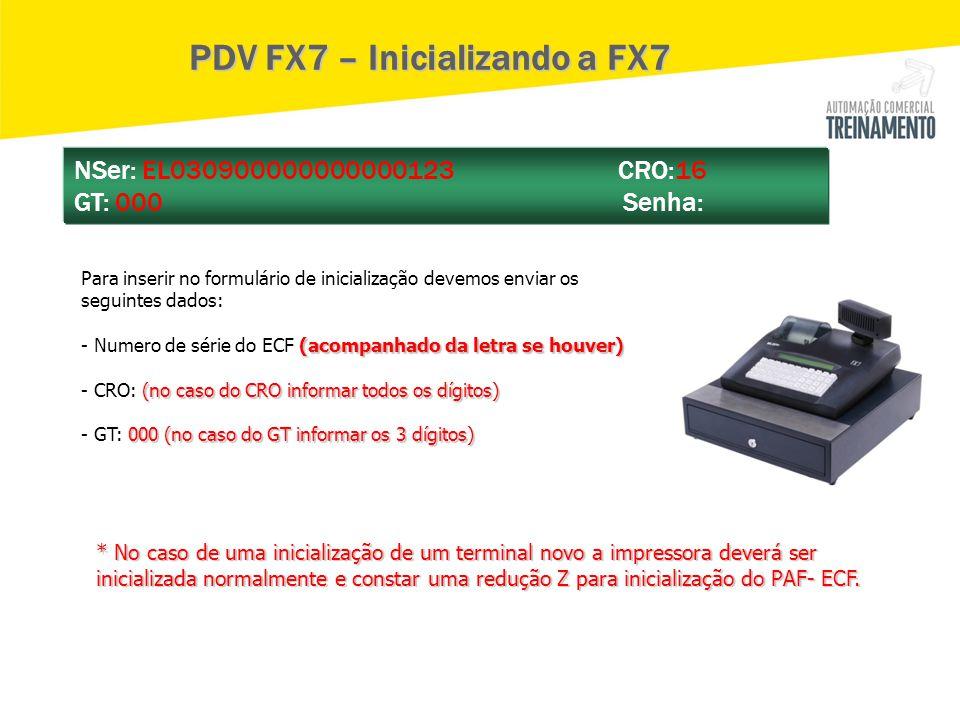 PDV FX7 – Inicializando a FX7 Para inserir no formulário de inicialização devemos enviar os seguintes dados: (acompanhado da letra se houver) - Numero