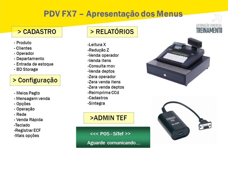 - Produto - Clientes - Operador - Departamento - Entrada de estoque - BD Storage > CADASTRO PDV FX7 – Apresentação dos Menus > Configuração - Meios Pa