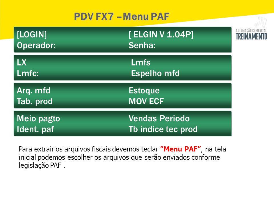 [LOGIN] [ ELGIN V 1.04P] Operador: Senha: LX Lmfs Lmfc: Espelho mfd Arq. mfd Estoque Tab. prod MOV ECF Meio pagto Vendas Periodo Ident. paf Tb indice