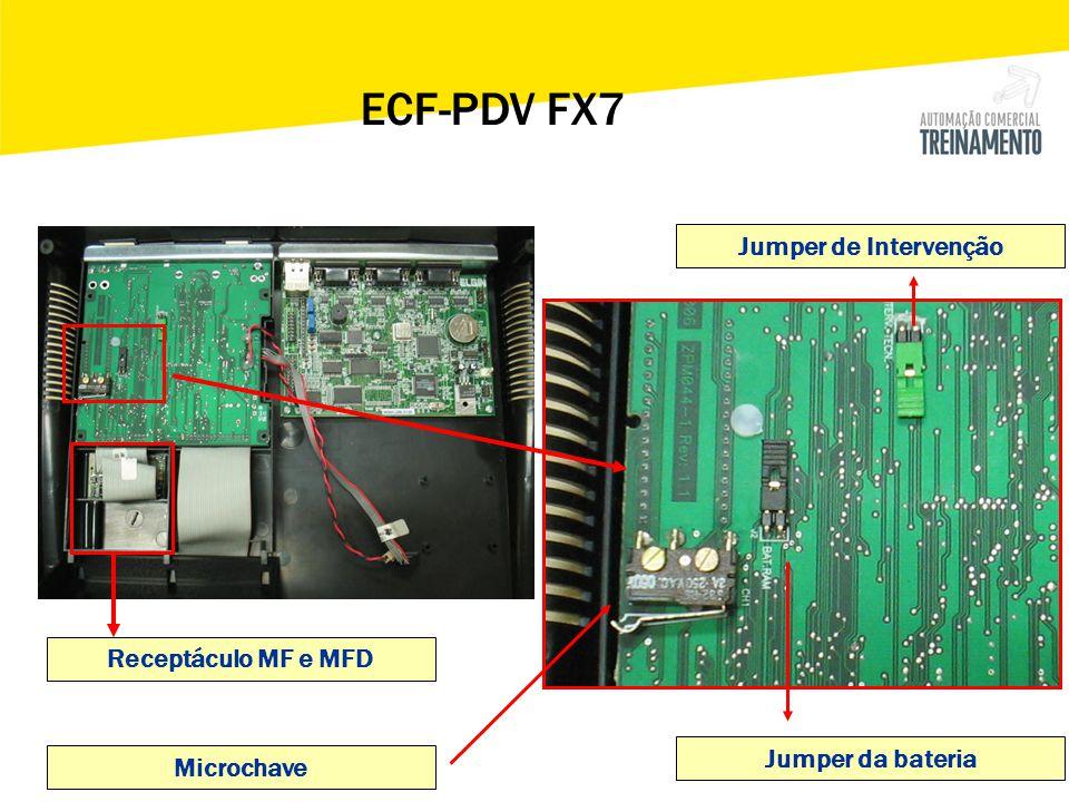 > Registrar ECF Nser: EL030900000000000123 CRO:16 GT: 005 Senha: 123456 PDV FX7 – Inicializando a FX7 para PAF-ECF O terminal não funciona sem o STORAGE e o PEN-DRIVE conectados ao terminal.