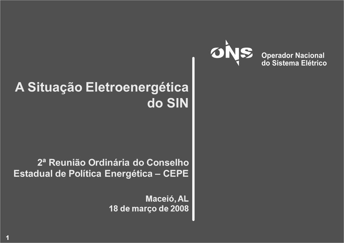 1 A Situação Eletroenergética do SIN 2ª Reunião Ordinária do Conselho Estadual de Política Energética – CEPE Maceió, AL 18 de março de 2008