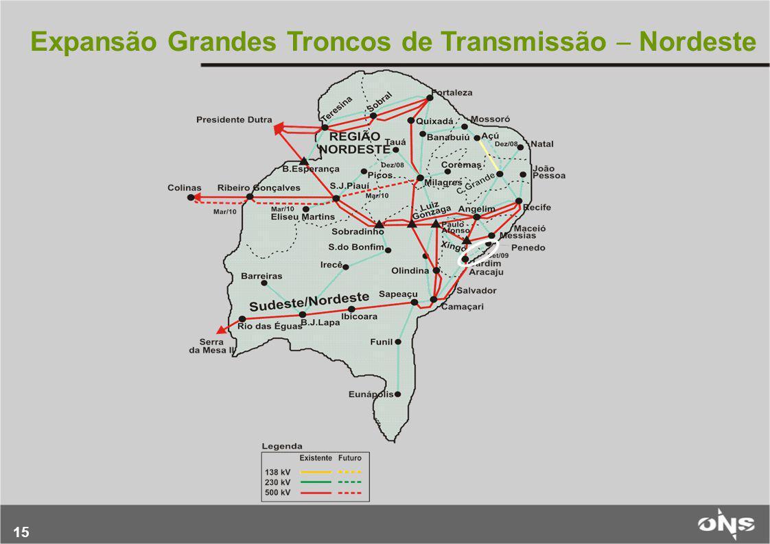 15 Expansão Grandes Troncos de Transmissão  Nordeste
