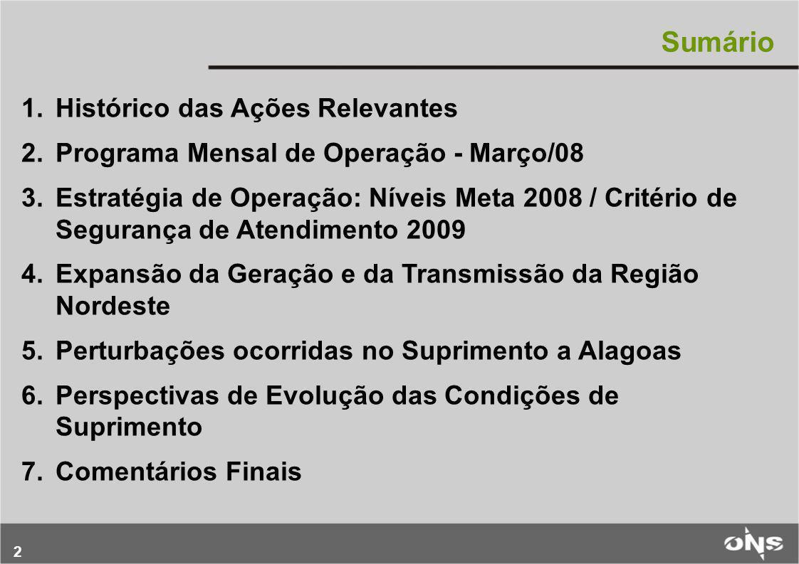 2 Sumário 1.Histórico das Ações Relevantes 2.Programa Mensal de Operação - Março/08 3.Estratégia de Operação: Níveis Meta 2008 / Critério de Segurança