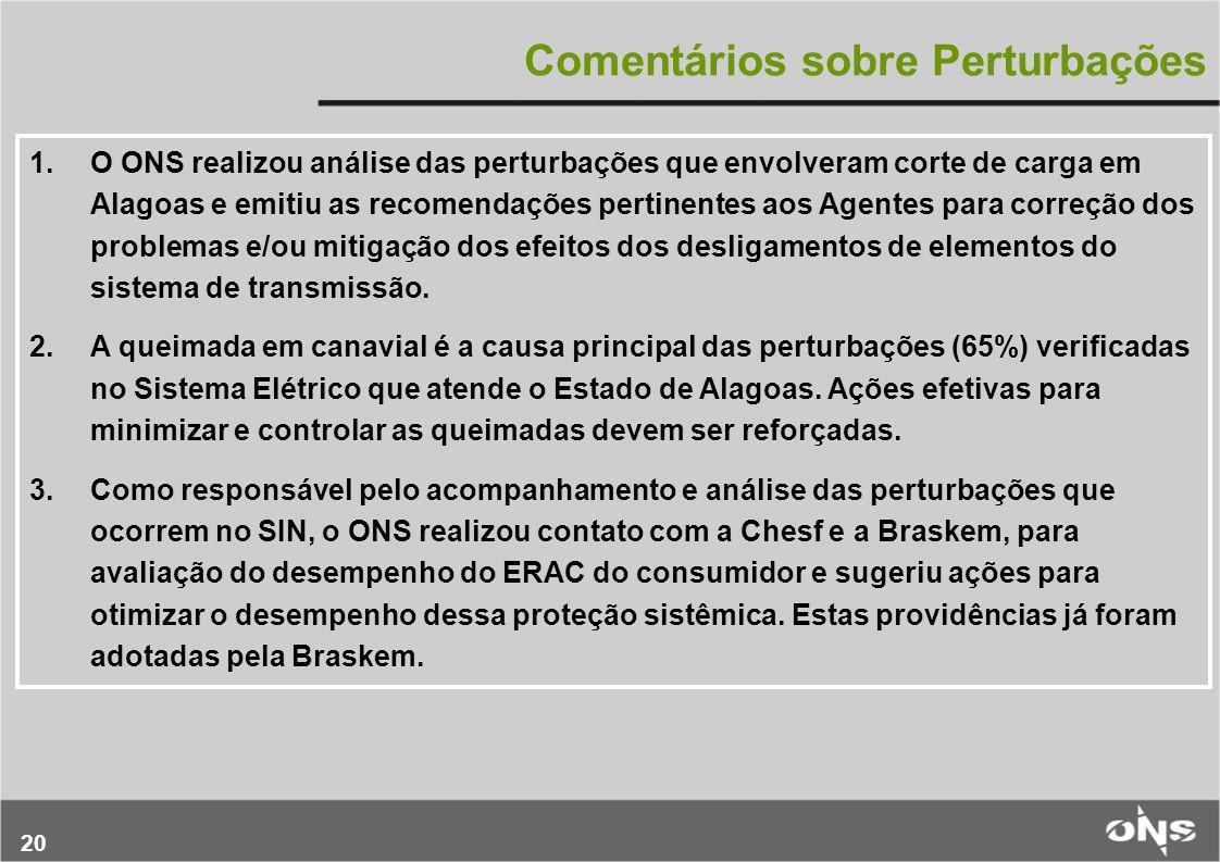 20 Comentários sobre Perturbações 1.O ONS realizou análise das perturbações que envolveram corte de carga em Alagoas e emitiu as recomendações pertine