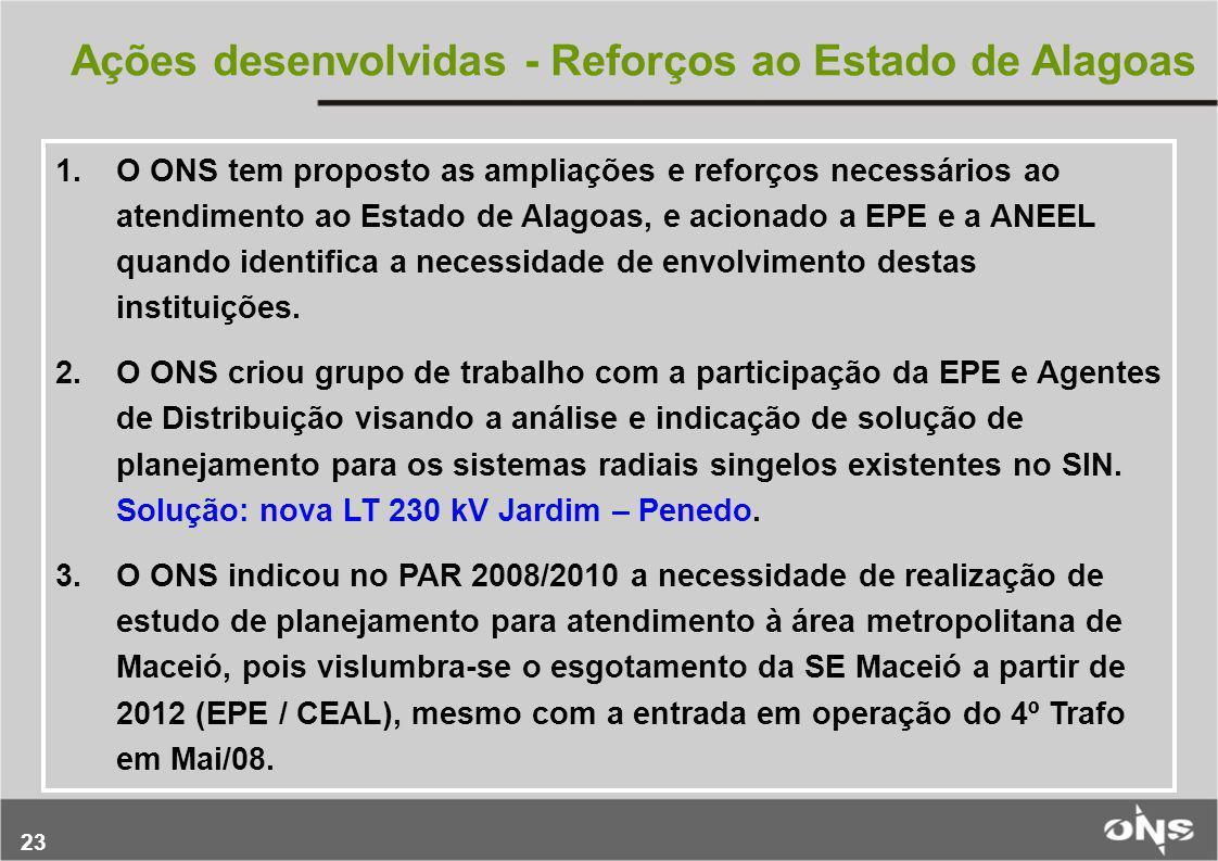 23 Ações desenvolvidas - Reforços ao Estado de Alagoas 1.O ONS tem proposto as ampliações e reforços necessários ao atendimento ao Estado de Alagoas,