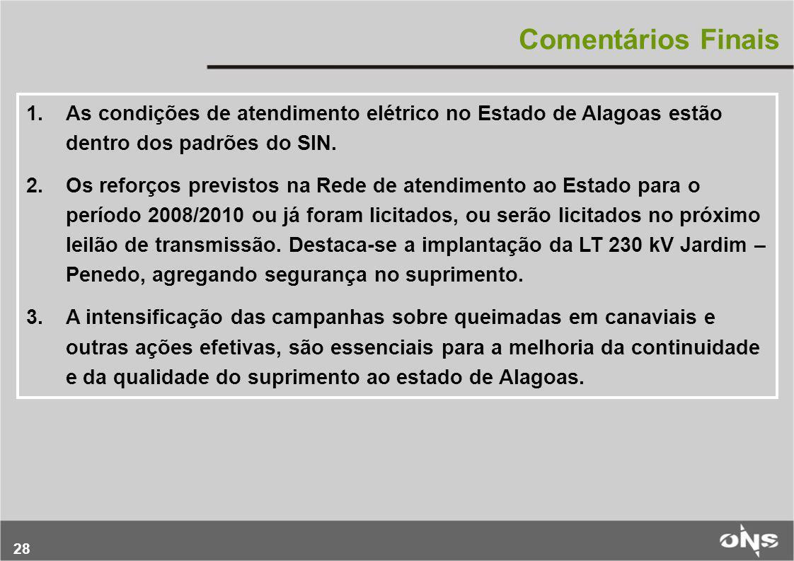 28 Comentários Finais 1.As condições de atendimento elétrico no Estado de Alagoas estão dentro dos padrões do SIN. 2.Os reforços previstos na Rede de