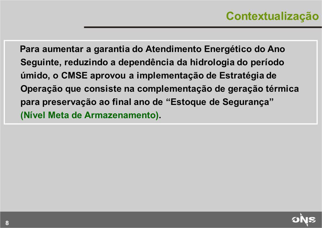 8 Contextualização Para aumentar a garantia do Atendimento Energético do Ano Seguinte, reduzindo a dependência da hidrologia do período úmido, o CMSE