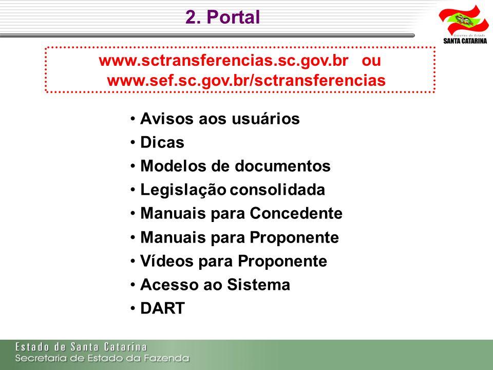 2. Portal Avisos aos usuários Dicas Modelos de documentos Legislação consolidada Manuais para Concedente Manuais para Proponente Vídeos para Proponent