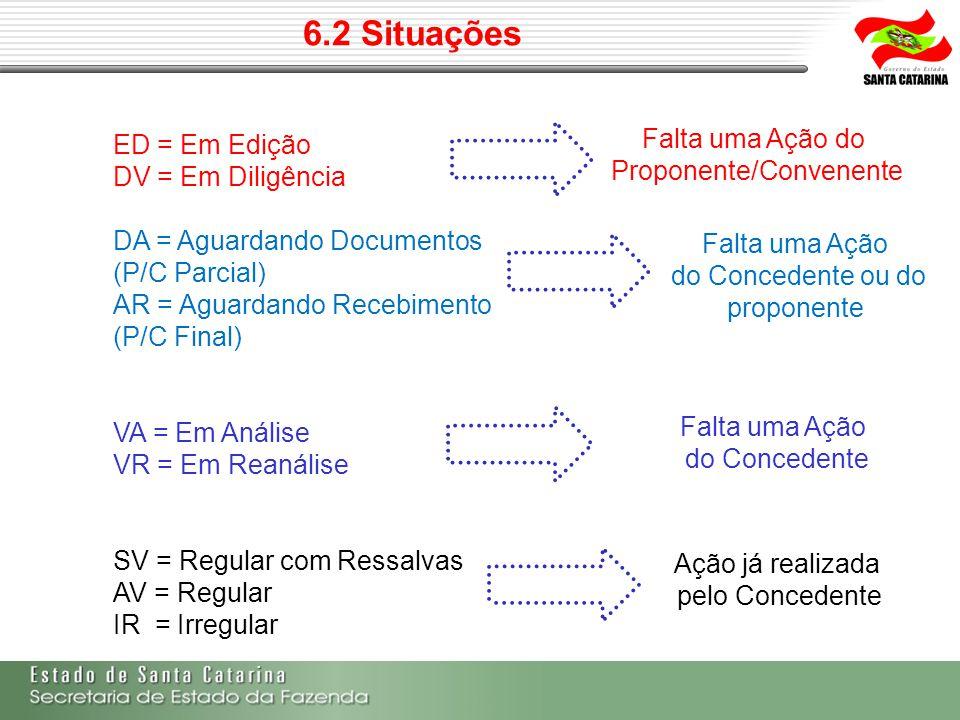 6.2 Situações ED = Em Edição DV = Em Diligência DA = Aguardando Documentos (P/C Parcial) AR = Aguardando Recebimento (P/C Final) VA = Em Análise VR =