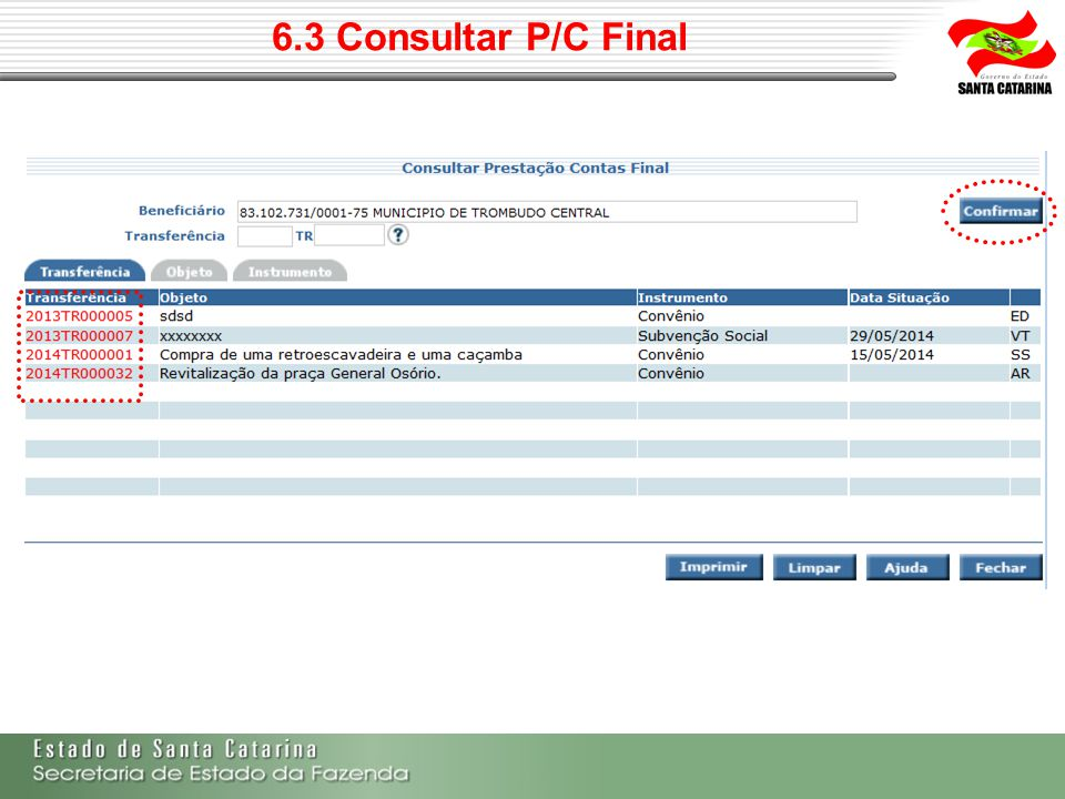 6.3 Consultar P/C Final