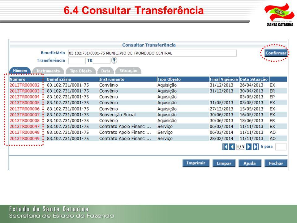 6.4 Consultar Transferência