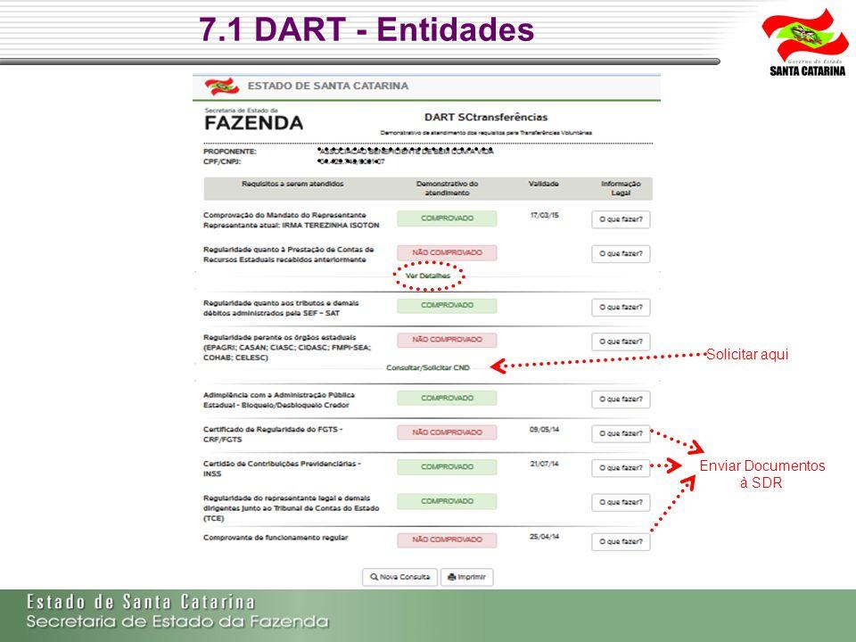 7.1 DART - Entidades Solicitar aqui Enviar Documentos à SDR