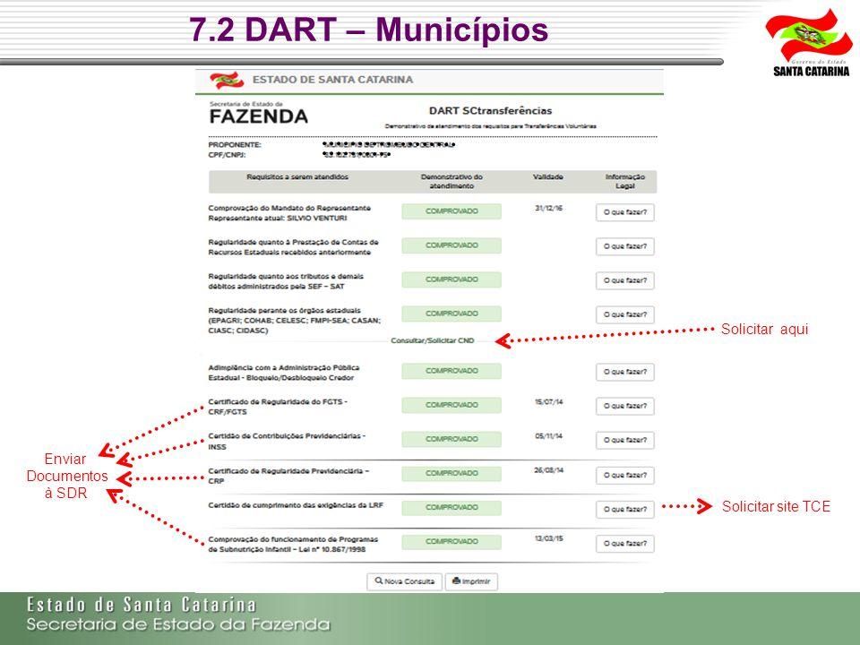 7.2 DART – Municípios Solicitar aqui Enviar Documentos à SDR Solicitar site TCE