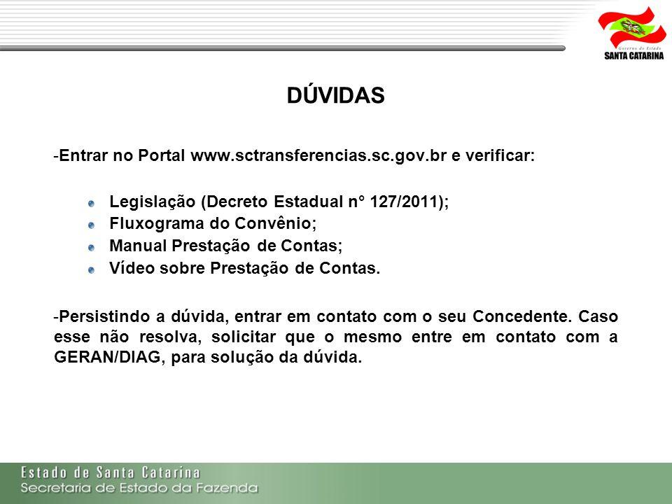 DÚVIDAS -Entrar no Portal www.sctransferencias.sc.gov.br e verificar: Legislação (Decreto Estadual n° 127/2011); Fluxograma do Convênio; Manual Presta