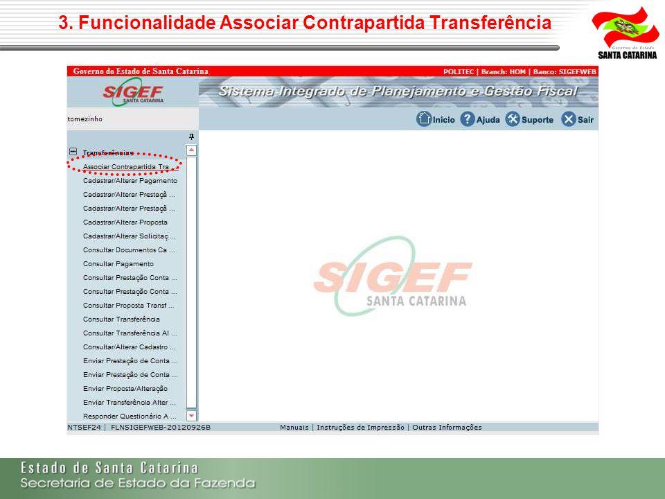 3. Funcionalidade Associar Contrapartida Transferência