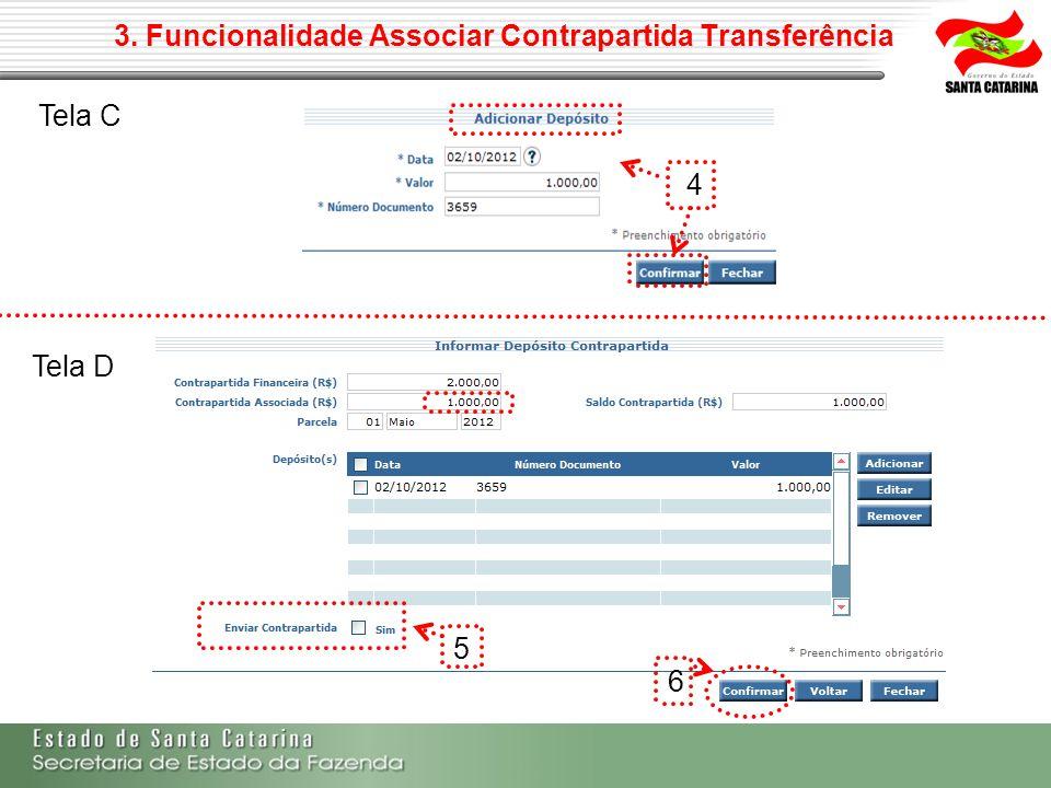 3. Funcionalidade Associar Contrapartida Transferência 4 5 6 Tela C Tela D