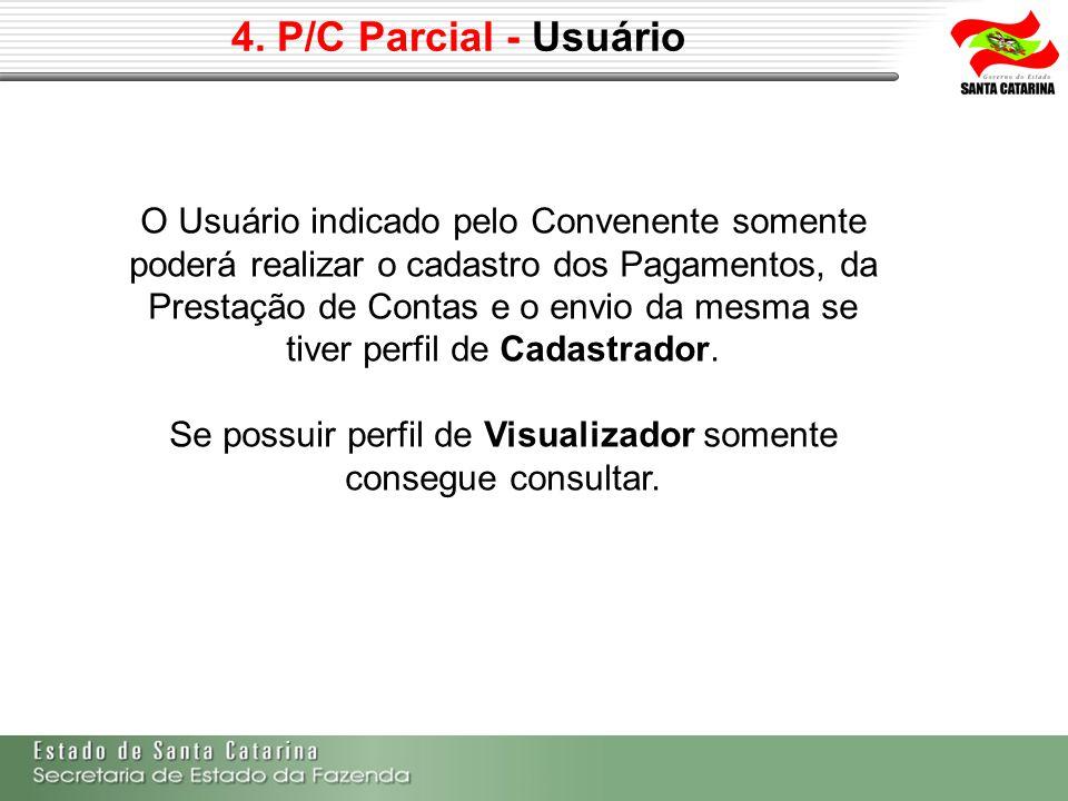 4. P/C Parcial - Usuário O Usuário indicado pelo Convenente somente poderá realizar o cadastro dos Pagamentos, da Prestação de Contas e o envio da mes