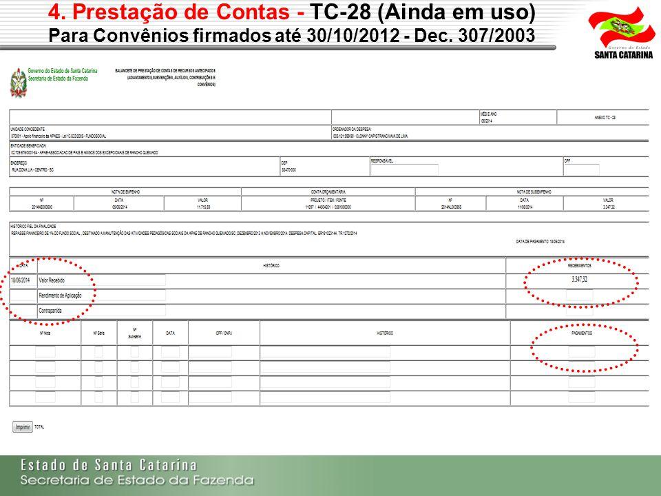 4. Prestação de Contas - TC-28 (Ainda em uso) Para Convênios firmados até 30/10/2012 - Dec. 307/2003 Dispêndios Ingressos