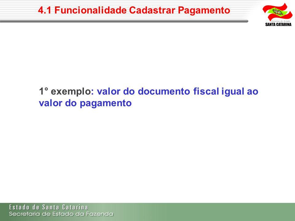 4.1 Funcionalidade Cadastrar Pagamento 1° exemplo: valor do documento fiscal igual ao valor do pagamento