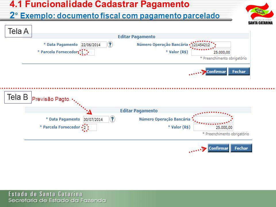 4.1 Funcionalidade Cadastrar Pagamento 2 ° Exemplo: documento fiscal com pagamento parcelado Previsão Pagto. Tela A Tela B