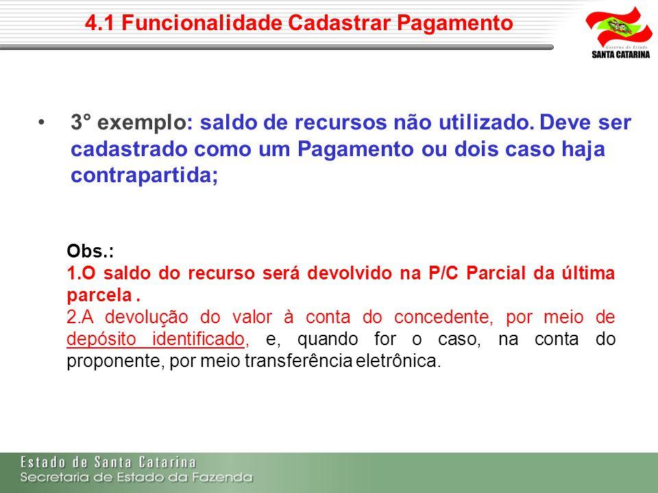 4.1 Funcionalidade Cadastrar Pagamento 3° exemplo: saldo de recursos não utilizado. Deve ser cadastrado como um Pagamento ou dois caso haja contrapart