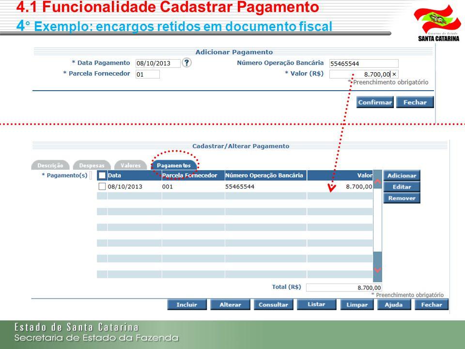 4.1 Funcionalidade Cadastrar Pagamento 4 ° Exemplo: encargos retidos em documento fiscal