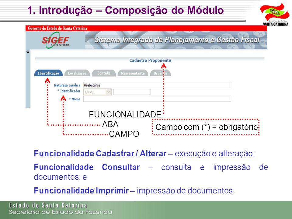 1. Introdução – Composição do Módulo FUNCIONALIDADE ABA CAMPO Campo com (*) = obrigatório Funcionalidade Cadastrar / Alterar – execução e alteração; F