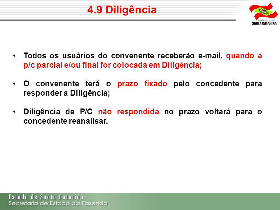 4.9 Diligência Todos os usuários do convenente receberão e-mail, quando a p/c parcial e/ou final for colocada em Diligência; O convenente terá o prazo