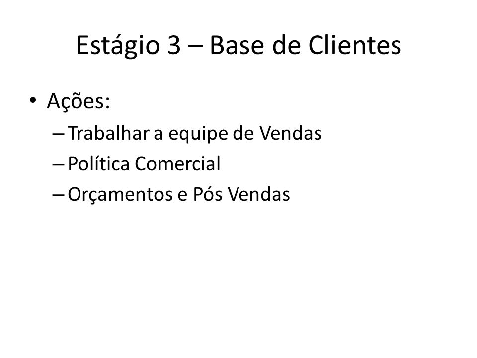 Estágio 3 – Base de Clientes Ações: – Trabalhar a equipe de Vendas – Política Comercial – Orçamentos e Pós Vendas