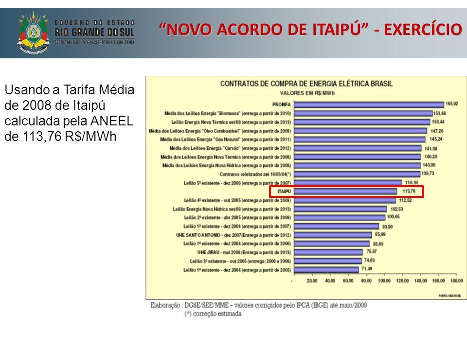 """Usando a Tarifa Média de 2008 de Itaipú calculada pela ANEEL de 113,76 R$/MWh """"NOVO ACORDO DE ITAIPÚ"""" - EXERCÍCIO"""