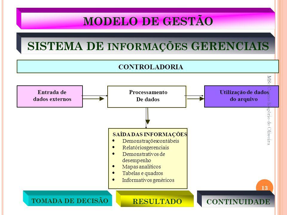 SISTEMA DE INFORMAÇÕES GERENCIAIS SAÍDA DAS INFORMAÇÕES  Demonstraçõescontábeis  Relatóriosgerenciais  Demonstrativos de desempenho  Mapas analíti