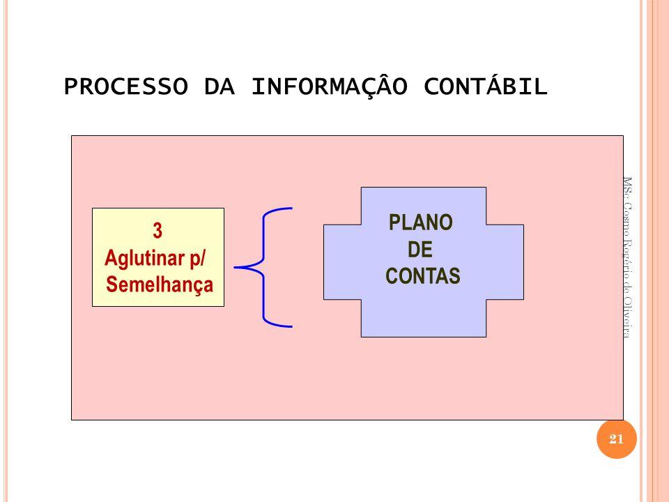 PROCESSO DA INFORMAÇÂO CONTÁBIL 3 Aglutinar p/ Semelhança PLANO DE CONTAS 21 MSc Cosmo Rogério de Oliveira