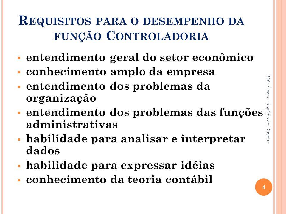 R EQUISITOS PARA O DESEMPENHO DA FUNÇÃO C ONTROLADORIA  entendimento geral do setor econômico  conhecimento amplo da empresa  entendimento dos prob