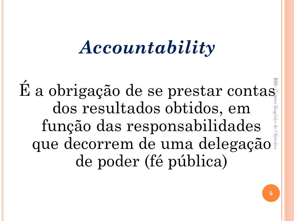 Accountability É a obrigação de se prestar contas dos resultados obtidos, em função das responsabilidades que decorrem de uma delegação de poder (fé p