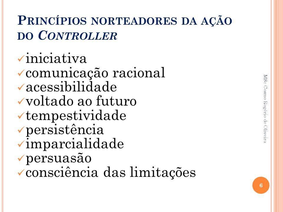 P RINCÍPIOS NORTEADORES DA AÇÃO DO C ONTROLLER iniciativa comunicação racional acessibilidade voltado ao futuro tempestividade persistência imparciali