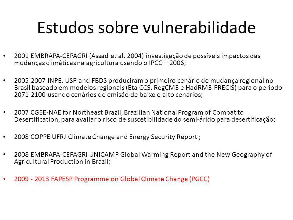 Estudos sobre vulnerabilidade 2001 EMBRAPA-CEPAGRI (Assad et al.