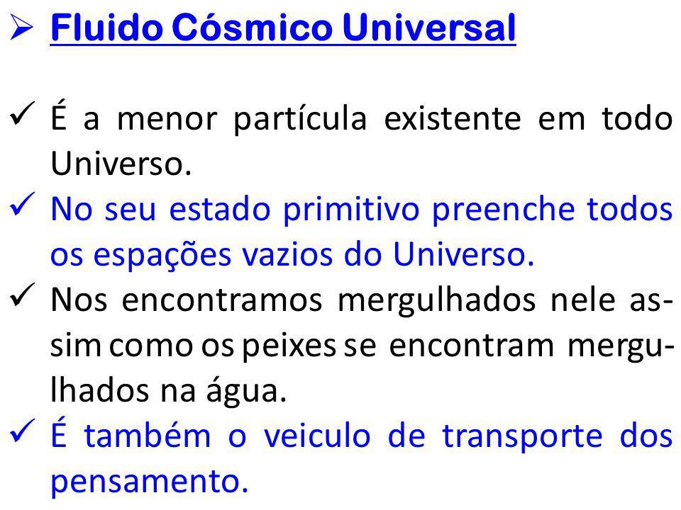  Fluido Cósmico Universal É a menor partícula existente em todo Universo. No seu estado primitivo preenche todos os espações vazios do Universo. Nos