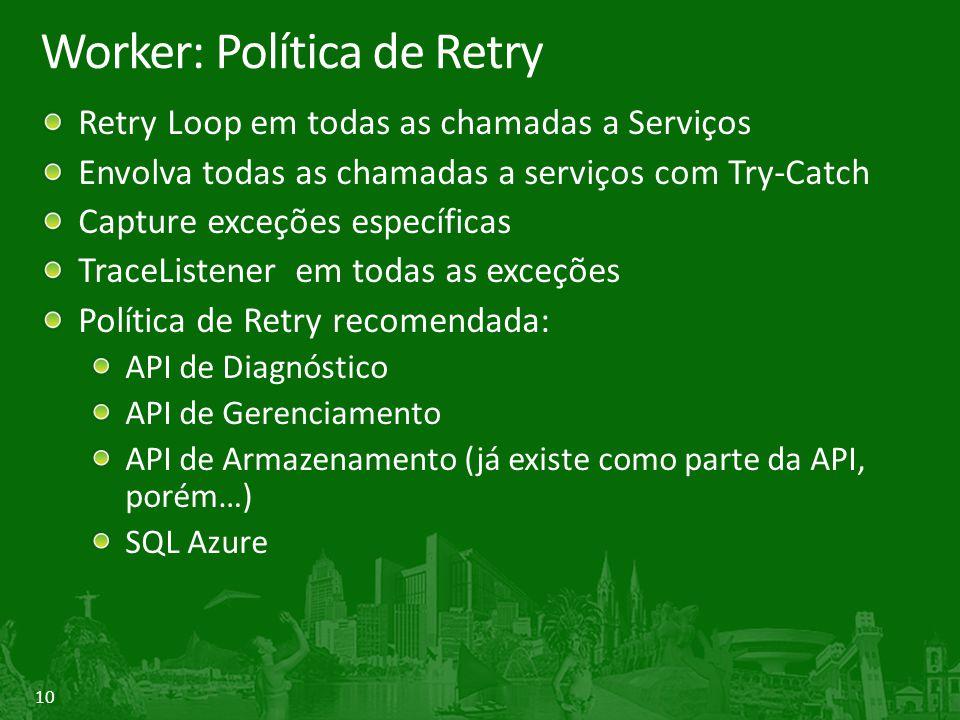 10 Worker: Política de Retry Retry Loop em todas as chamadas a Serviços Envolva todas as chamadas a serviços com Try-Catch Capture exceções específica