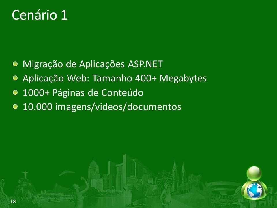18 Cenário 1 Migração de Aplicações ASP.NET Aplicação Web: Tamanho 400+ Megabytes 1000+ Páginas de Conteúdo 10.000 imagens/videos/documentos