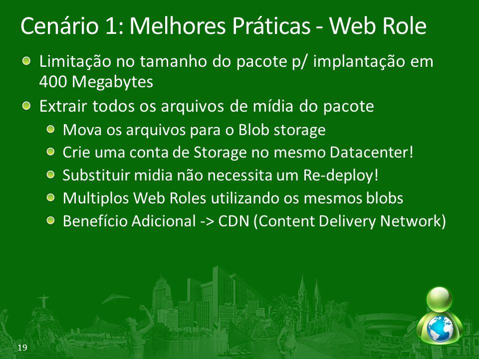 19 Cenário 1: Melhores Práticas - Web Role Limitação no tamanho do pacote p/ implantação em 400 Megabytes Extrair todos os arquivos de mídia do pacote