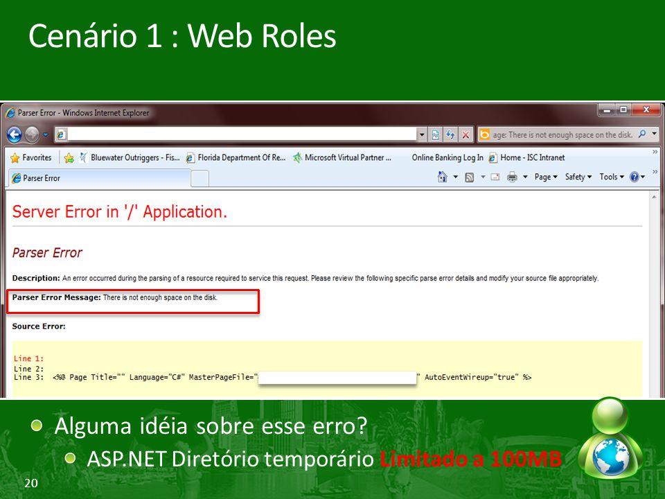 20 Cenário 1 : Web Roles Alguma idéia sobre esse erro? ASP.NET Diretório temporário Limitado a 100MB