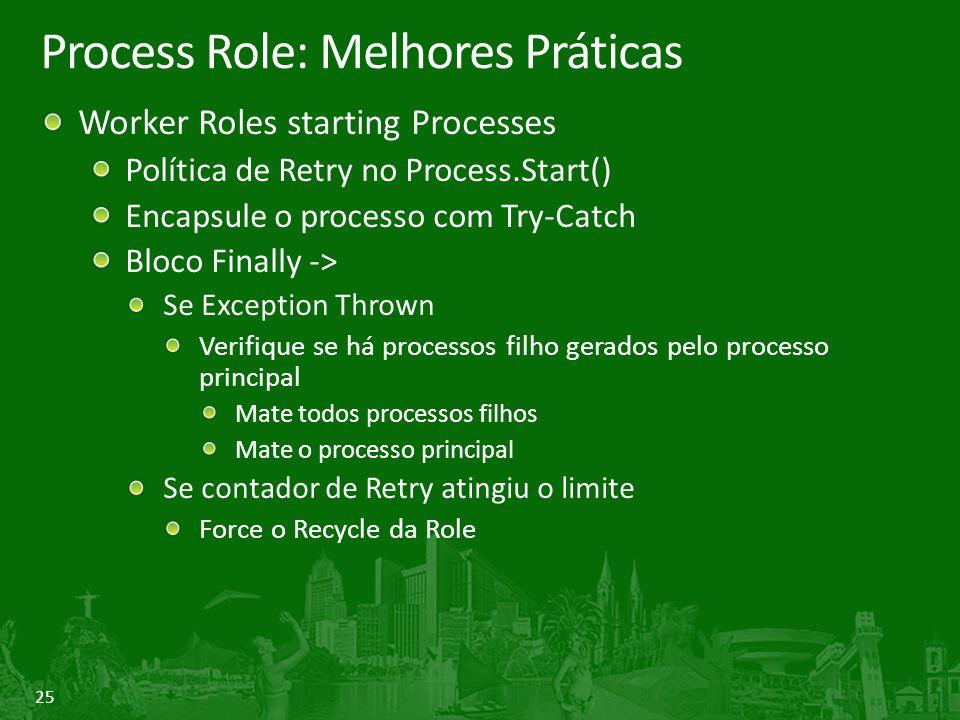 25 Process Role: Melhores Práticas Worker Roles starting Processes Política de Retry no Process.Start() Encapsule o processo com Try-Catch Bloco Final