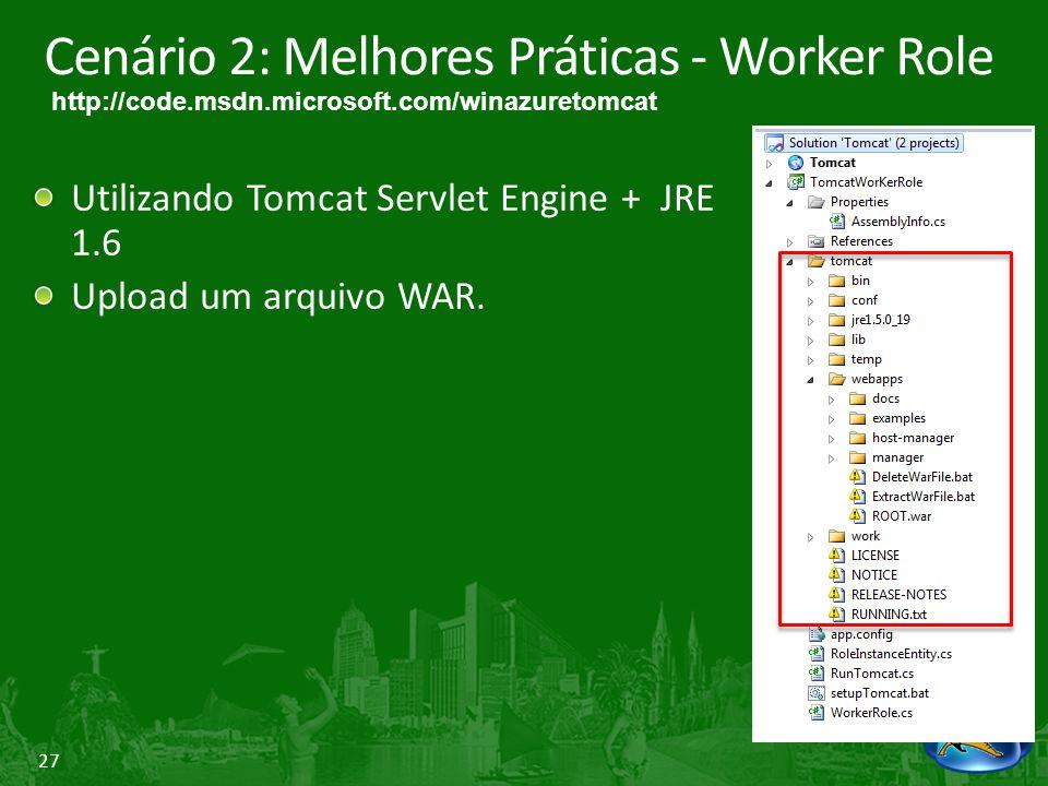 27 Cenário 2: Melhores Práticas - Worker Role Utilizando Tomcat Servlet Engine + JRE 1.6 Upload um arquivo WAR. http://code.msdn.microsoft.com/winazur