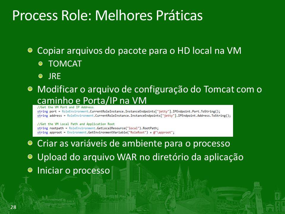 28 Process Role: Melhores Práticas Copiar arquivos do pacote para o HD local na VM TOMCAT JRE Modificar o arquivo de configuração do Tomcat com o cami
