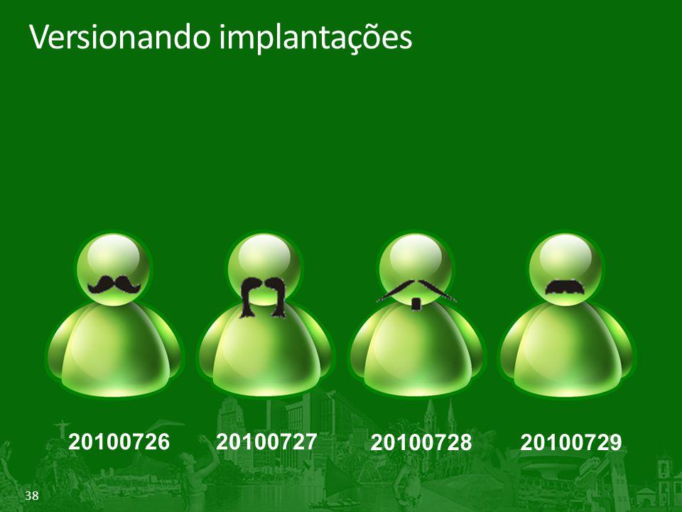 38 Versionando implantações 2010072620100727 2010072820100729