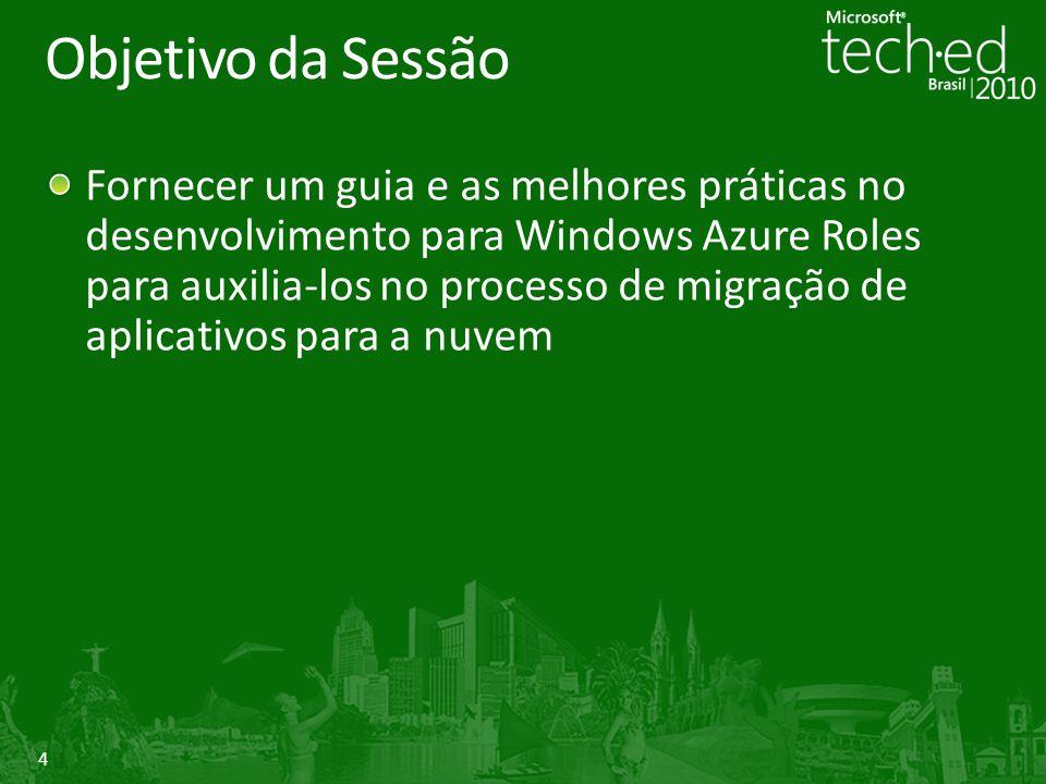 4 Objetivo da Sessão Fornecer um guia e as melhores práticas no desenvolvimento para Windows Azure Roles para auxilia-los no processo de migração de a