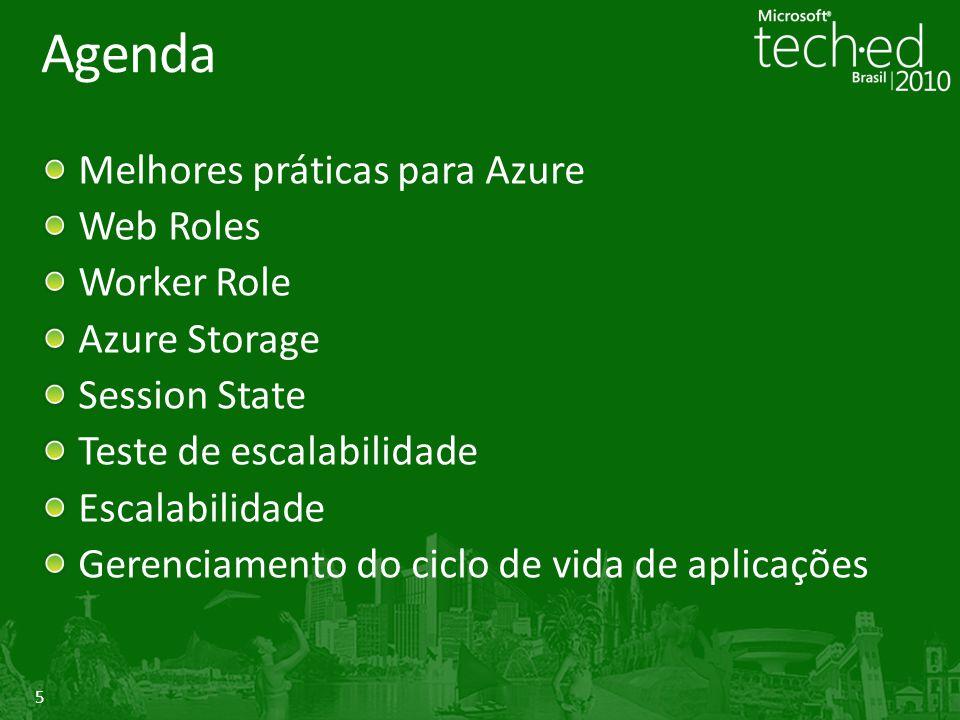 5 Agenda Melhores práticas para Azure Web Roles Worker Role Azure Storage Session State Teste de escalabilidade Escalabilidade Gerenciamento do ciclo