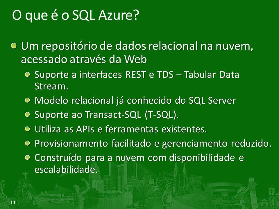 11 O que é o SQL Azure? Um repositório de dados relacional na nuvem, acessado através da Web Suporte a interfaces REST e TDS – Tabular Data Stream. Mo