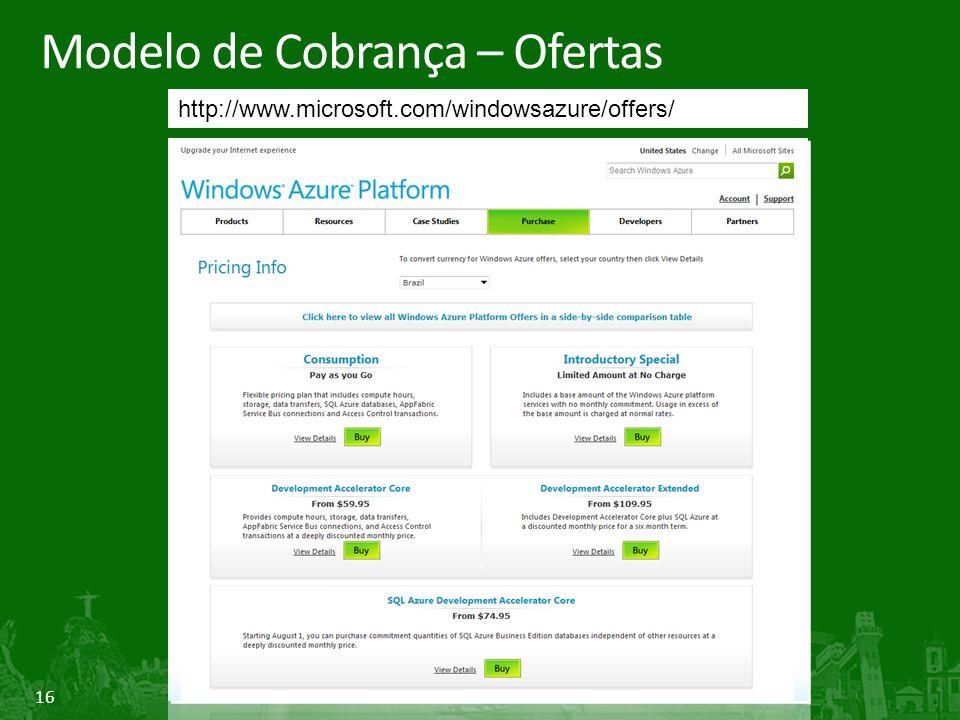 16 Modelo de Cobrança – Ofertas http://www.microsoft.com/windowsazure/offers/