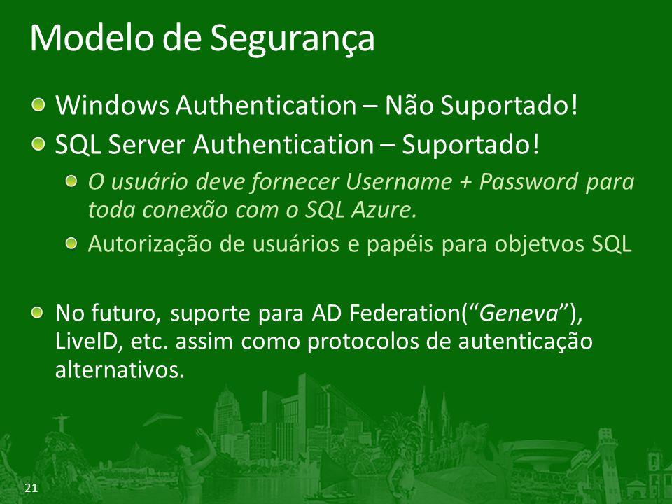 21 Modelo de Segurança Windows Authentication – Não Suportado! SQL Server Authentication – Suportado! O usuário deve fornecer Username + Password para